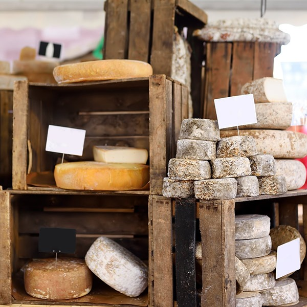 Cheeses and sausages at Devon Market